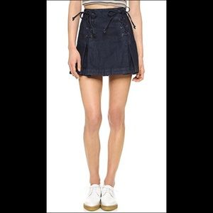 Free People Lace Up Jean Skirt Size 6